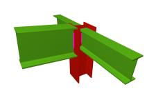 Unión soldada de pilar con dintel articulado, y con dos vigas ortogonales articuladas (en extremo de pilar)