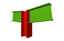 Unión soldada de pilar con dos dinteles articulados (en extremo de pilar)