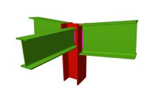 Unión soldada de pilar con dos dinteles articulados, y con una viga ortogonal articulada (en extremo de pilar)
