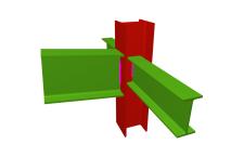 Unión soldada de pilar con dintel articulado, y con dos vigas ortogonales articuladas (pilar pasante)