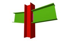 Unión soldada de pilar con dos dinteles articulados (pilar pasante)