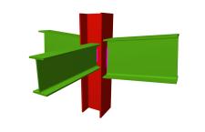 Unión soldada de pilar con dos dinteles articulados, y con una viga ortogonal articulada (pilar pasante)