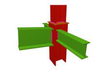 Unión soldada de pilar con dintel articulado, y con dos vigas ortogonales articuladas (en transición de pilares)
