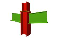 Unión soldada de pilar con dos dinteles articulados (en transición de pilares)