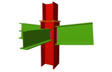 Unión soldada de pilar con dos dinteles articulados, y con una viga ortogonal articulada (en transición de pilares)