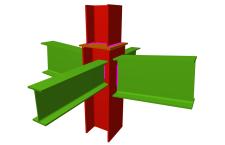 Unión soldada de pilar con dos dinteles articulados, y con dos vigas ortogonales articuladas (en transición de pilares)