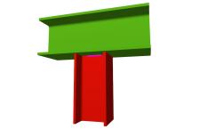 Unión soldada de pilar inferior articulado a viga pasante (en interior de pórtico)