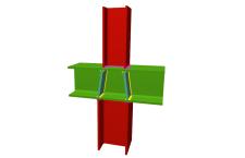 Unión soldada de pilar inferior y pilar superior empotrados a viga pasante (en interior de pórtico)