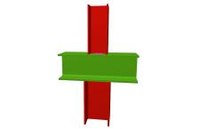 Unión soldada de pilar inferior y pilar superior articulados a viga pasante (en interior de pórtico)