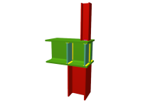 Unión soldada de pilar inferior empotrado y pilar superior articulado a viga pasante (en extremo de pórtico)