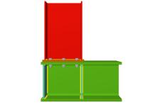 Unión atornillada de pilar superior empotrado a viga pasante (en extremo de pórtico)