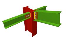 Unión atornillada de pilar con dintel articulado mediante chapa lateral y con dos vigas ortogonales articuladas mediante chapas laterales (en extremo de pilar)