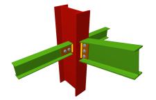 Unión atornillada de pilar con dintel articulado mediante chapa lateral y con dos vigas ortogonales articuladas mediante chapas laterales (pilar pasante)