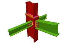 Unión atornillada de pilar con dintel articulado mediante chapa lateral y con dos vigas ortogonales articuladas mediante chapas laterales (en transición de pilares)