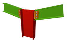 Unión atornillada de pilar con dos dinteles articulados mediante chapas laterales (en extremo de pilar)