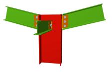 Unión atornillada de pilar con dos dinteles articulados mediante chapas laterales y con una viga ortogonal articulada mediante chapa lateral (en extremo de pilar)