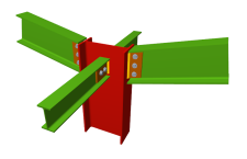 Unión atornillada de pilar con dos dinteles articulados mediante chapas laterales y con dos vigas ortogonales articuladas mediante chapas laterales (en extremo de pilar)