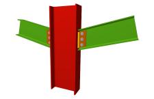 Unión atornillada de pilar con dos dinteles articulados mediante chapas laterales (pilar pasante)