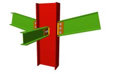 Unión atornillada de pilar con dos dinteles articulados mediante chapas laterales y con una viga ortogonal articulada mediante chapa lateral (pilar pasante)
