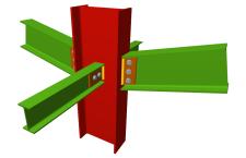 Unión atornillada de pilar con dos dinteles articulados mediante chapas laterales y con dos vigas ortogonales articuladas mediante chapas laterales (pilar pasante)