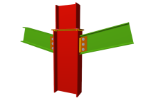 Unión atornillada de pilar con dos dinteles articulados mediante chapas laterales (en transición de pilares)