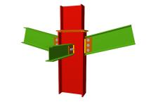 Unión atornillada de pilar con dos dinteles articulados mediante chapas laterales y con una viga ortogonal articulada mediante chapa lateral (en transición de pilares)