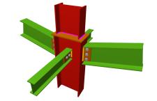 Unión atornillada de pilar con dos dinteles articulados mediante chapas laterales y con dos vigas ortogonales articuladas mediante chapas laterales (en transición de pilares)