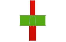 Unión atornillada de pilar inferior y pilar superior empotrados a viga pasante (en interior de pórtico)