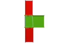 Unión atornillada de pilar inferior y pilar superior empotrados a viga pasante (en extremo de pórtico)