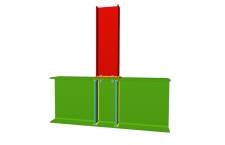 Unión atornillada de pilar superior empotrado a viga pasante (en interior de pórtico)