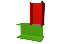Unión soldada de pilar superior articulado a viga pasante (en extremo de pórtico)