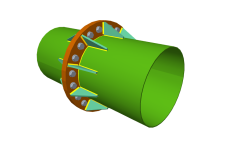 Splice connection, using bolted front plate with stiffeners, of two aligned hollow circular sections with the same external diameter